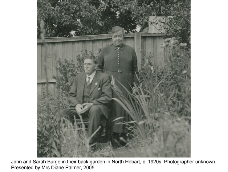 John and Sarah Burge in their back garden in North Hobart, c. 1920s