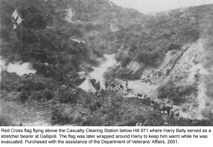 Red Cross flag flying above the Casualty Clearing Station below Hill 971