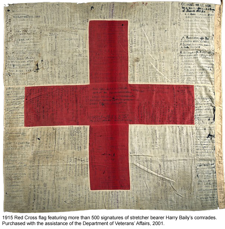 1915 Red Cross Flag with signatures of Harry Baily's comrades