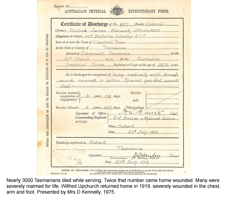 Certificate of Discharge for Wilfred Upchurch