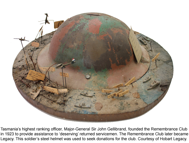 This helmet was used to seek donations for the Remembrance Club, founded in 1923.