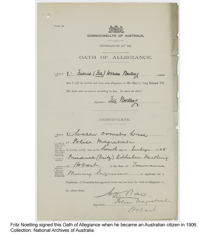 Oath of Allegiance, signed by Fritz Noetling