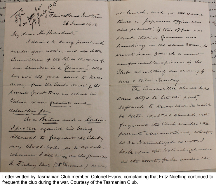 Letter by Tasmanian Club member, Colonel Evans, complaining about Fritz attending the club during the war