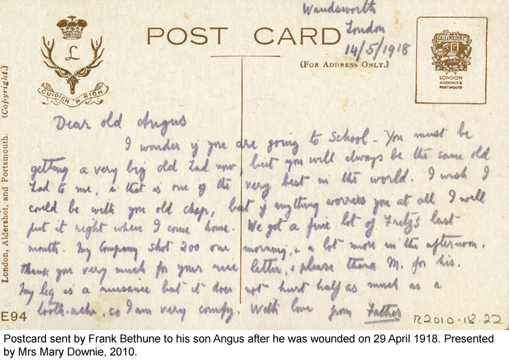 Postcard sent by Frank Bethune to his son Angus after he was wounded on 29 April 1918.